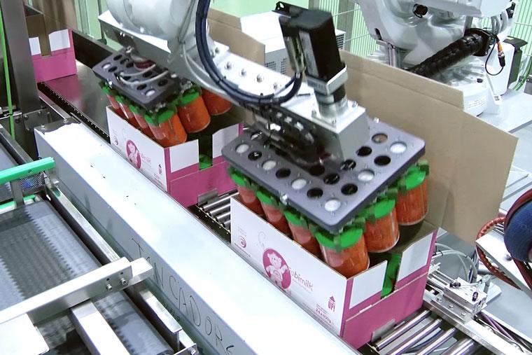 Roboter verpackt Dosen in Karton