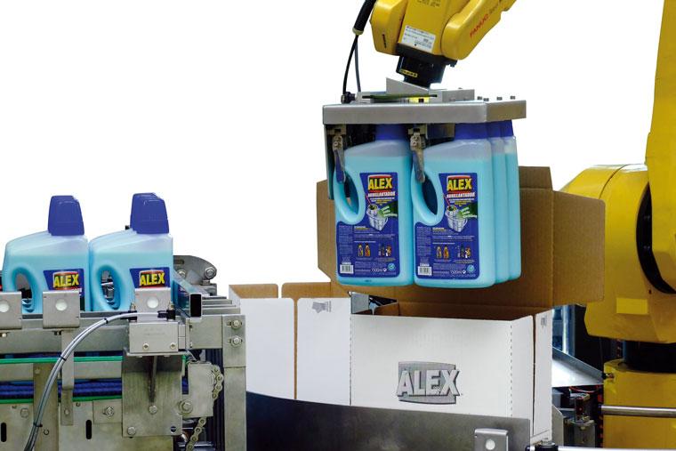 Putzmittel-Kartonverpackung vom Roboter