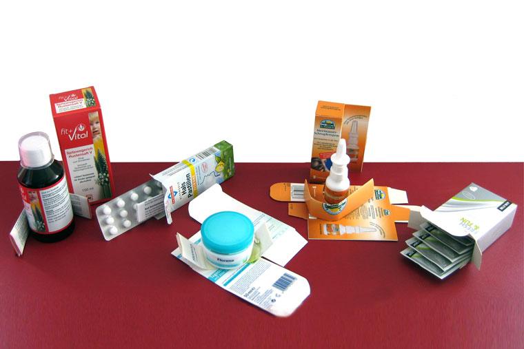 Produkte vom Kartonierer für die Pharma Industrie